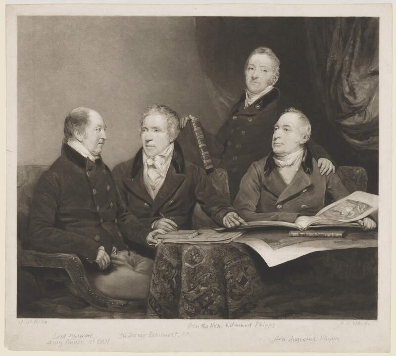 Henry Phipps, Viscount Normanby and Earl of Mulgrave; Sir George Howland Beaumont, 7th Bt; Edmund Phipps; Augustus Phipps, by William James Ward, after  John Jackson, (1820) - NPG D7633 - © National Portrait Gallery, London