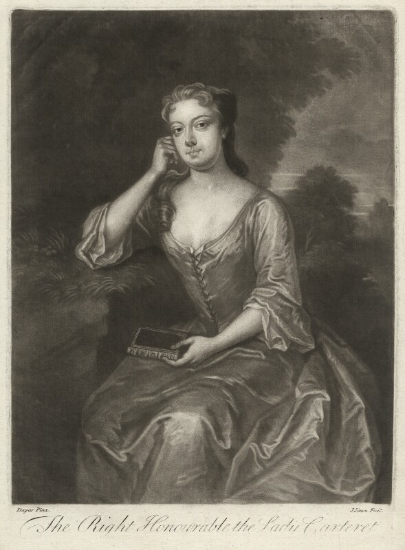 Frances Carteret (née Worsley), Lady Carteret, by John Simon, after  Charles D'Agar, early 18th century - NPG D32715 - © National Portrait Gallery, London