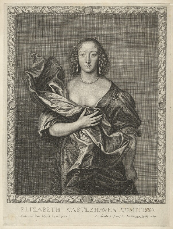Elizabeth (née Brydges), Countess Castlehaven, by Pierre Lombart, after  Sir Anthony van Dyck, mid 17th century - NPG D32724 - © National Portrait Gallery, London