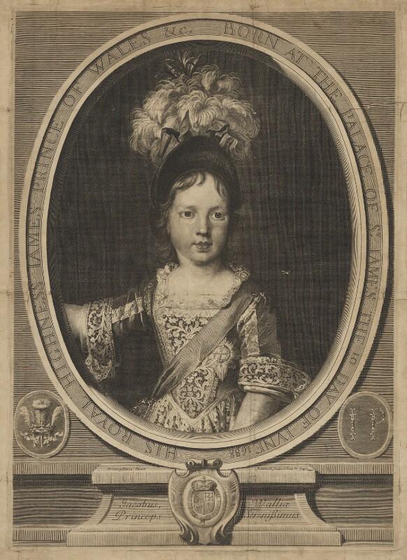 Prince James Francis Edward Stuart, by Gérard Edelinck, after  Nicolas de Largillière, 1692 - NPG D32655 - © National Portrait Gallery, London
