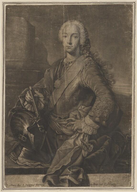 Prince Charles Edward Stuart, by Louis Surugue, after  Domenico Duprà, (1740) - NPG D32665 - © National Portrait Gallery, London