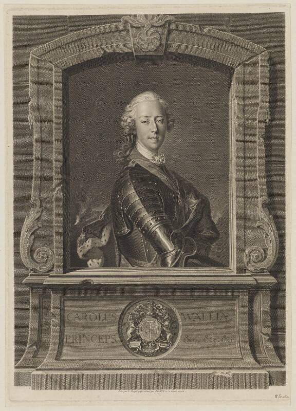 Prince Charles Edward Stuart, by Johan Georg Wille (Will), after  Louis Tocqué, 1748 - NPG D32668 - © National Portrait Gallery, London