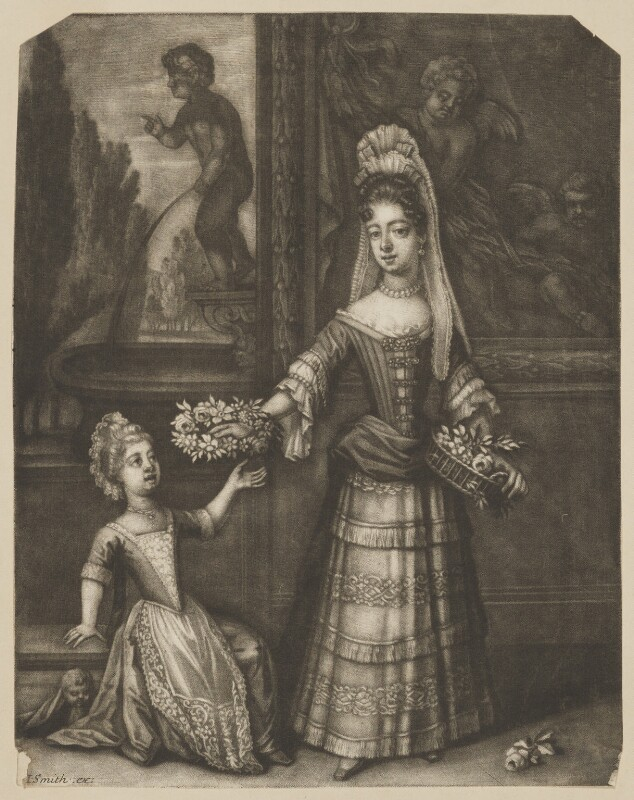 Possibly Prince James Francis Edward Stuart; Mary of Modena, published by John Smith, after  Unknown artist, 1690s - NPG D32654 - © National Portrait Gallery, London