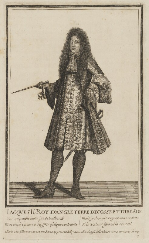 King James II, published by Henri Bonnart, and published by  Nicoló Billy, after  Unknown artist, circa 1685-1688 - NPG D32729 - © National Portrait Gallery, London