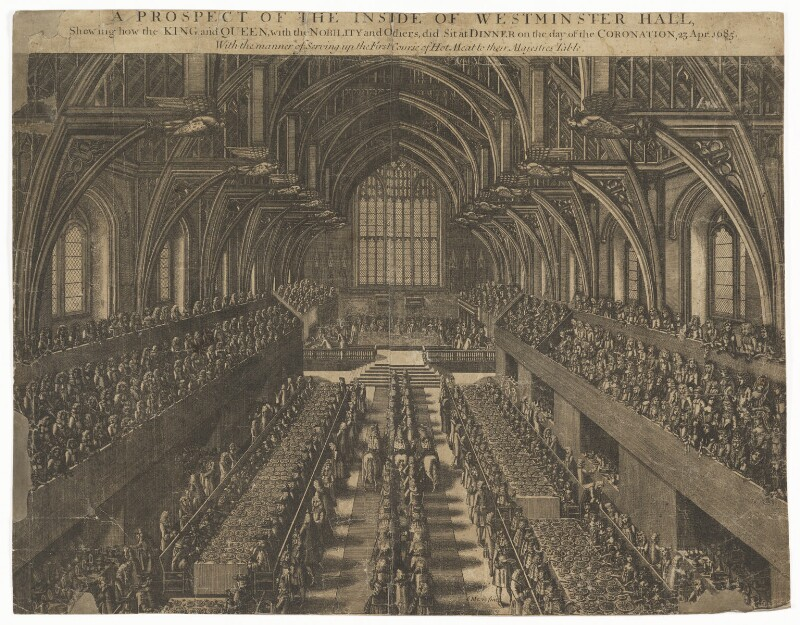 A Prospect of the Inside of Westminster Hall on the day of the Coronation, 23 Apr. 1685 (King James II; Mary of Modena), by Samuel Moore, circa 1685 - NPG D32730 - © National Portrait Gallery, London