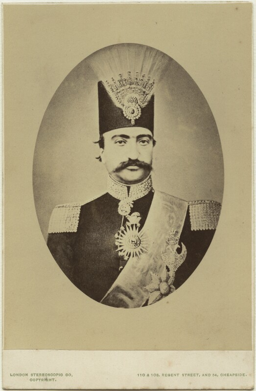 Nasser al-Din, Shah of Persia, by London Stereoscopic & Photographic Company, 1870s - NPG Ax46180 - © National Portrait Gallery, London