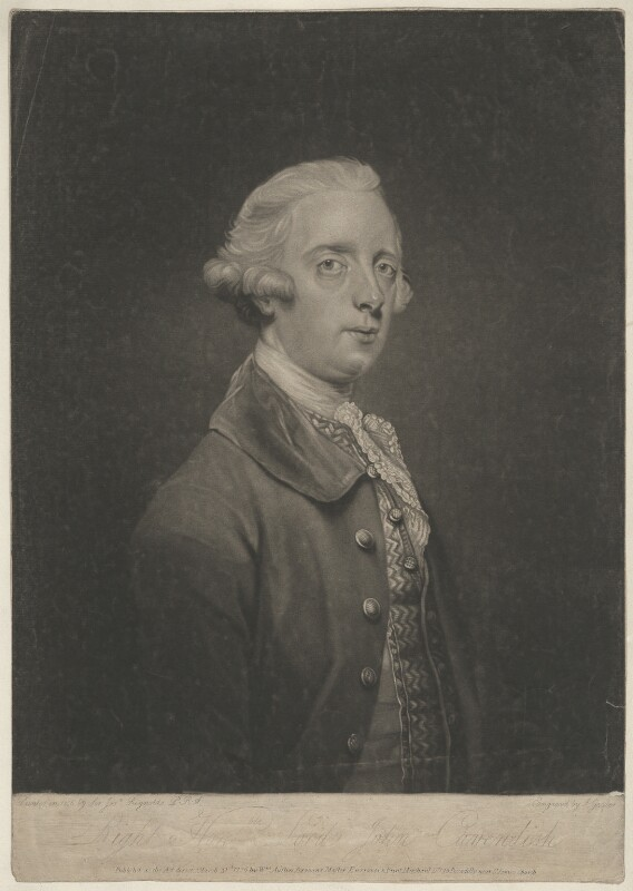 Lord John Cavendish, by Joseph Grozer, after  Sir Joshua Reynolds, published 1796 - NPG D32743 - © National Portrait Gallery, London