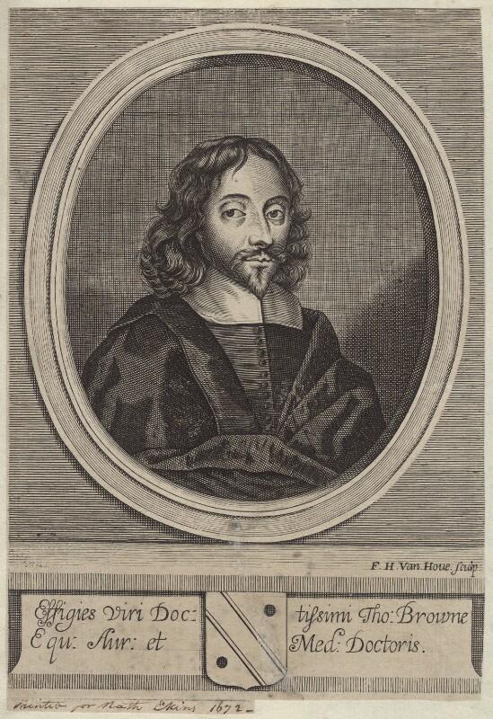 Sir Thomas Browne, by Frederick Hendrik van Hove, published 1672 - NPG D30050 - © National Portrait Gallery, London