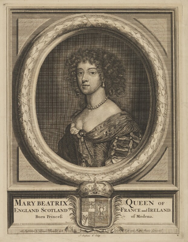 Mary of Modena, by Pieter Stevens (Stephani), published by  Louis Renard, after  Sir Peter Lely, circa 1685-1688 - NPG D32750 - © National Portrait Gallery, London