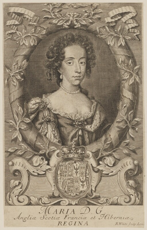 Mary of Modena, by Robert White, after  Unknown artist, circa 1685-1688 - NPG D32752 - © National Portrait Gallery, London