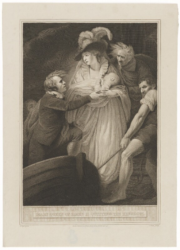Mary of Modena; Prince James Francis Edward Stuart ('Mary Queen of James II quitting the Kingdom'), by James Stow, published by  Robert Bowyer, after  John Opie, published 1796 - NPG D32755 - © National Portrait Gallery, London