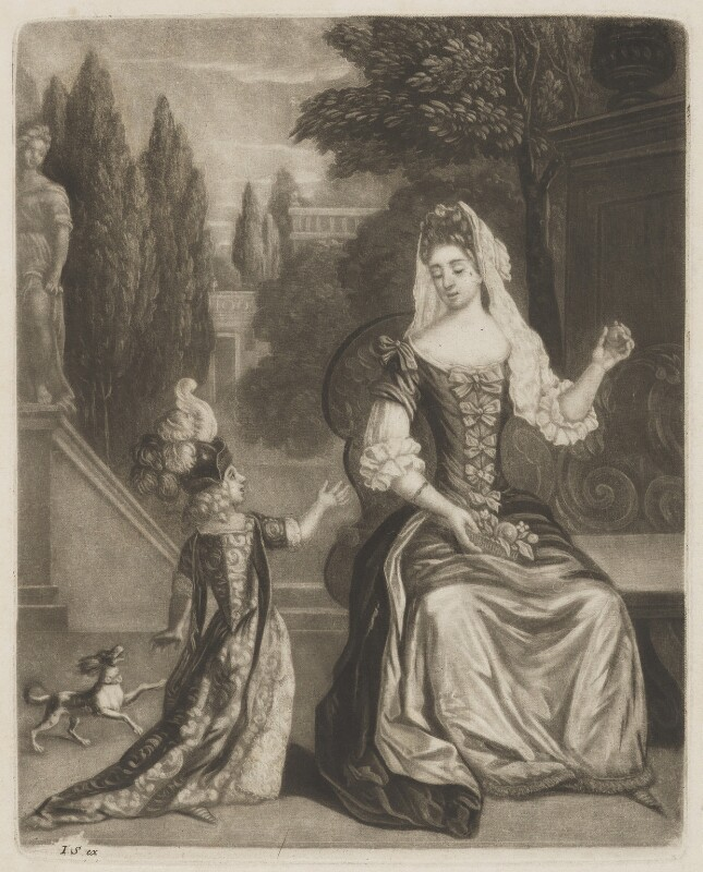 Prince James Francis Edward Stuart; Mary of Modena, published by John Smith, after  Unknown artist, early 1690s? - NPG D32756 - © National Portrait Gallery, London