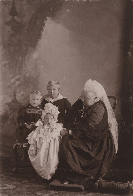 King George VI; Princess Mary, Countess of Harewood; Prince Edward, Duke of Windsor (King Edward VIII); Queen Victoria, by Robert Milne, September 1898 - NPG x8492 - © reserved; collection National Portrait Gallery, London