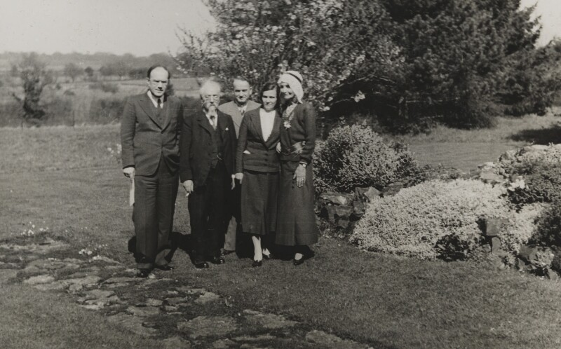 Sidney James Webb, Baron Passfield; Beatrice Webb with three others, by Unknown photographer, circa 1936 - NPG P1292(46) - © National Portrait Gallery, London