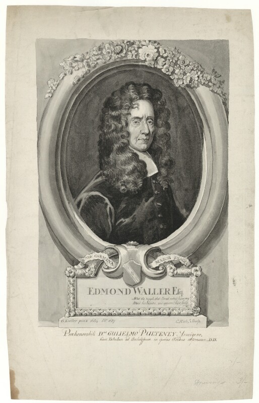 Edmund Waller, after Sir Godfrey Kneller, Bt, late 18th to early 19th century - NPG D30147 - © National Portrait Gallery, London