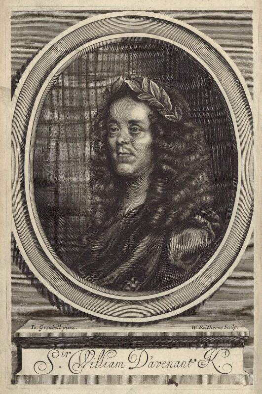 Sir William Davenant, by William Faithorne, after  John Greenhill, published 1672 - NPG D30156 - © National Portrait Gallery, London