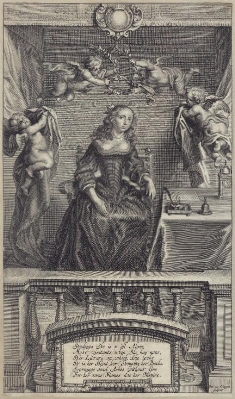 Margaret Cavendish (née Lucas), Duchess of Newcastle upon Tyne, by Pieter Louis van Schuppen, after  Abraham Diepenbeeck, late 17th century - NPG D30185 - © National Portrait Gallery, London