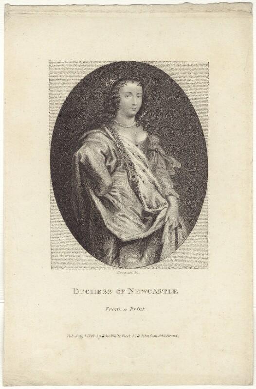 Margaret Cavendish (née Lucas), Duchess of Newcastle upon Tyne, by E. Bocquet, after  Abraham Diepenbeeck, published 1808 - NPG D30191 - © National Portrait Gallery, London