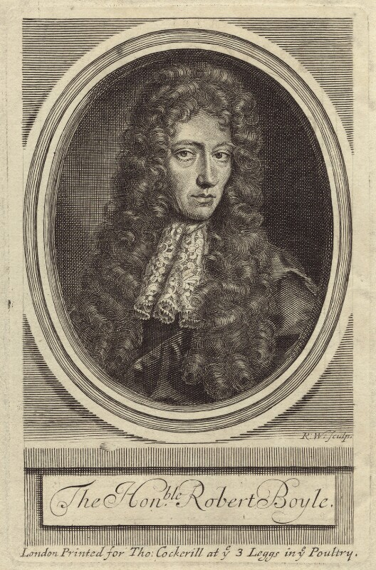 Robert Boyle, by Robert White, after  Johann Kerseboom, late 17th to early 18th century - NPG D30345 - © National Portrait Gallery, London