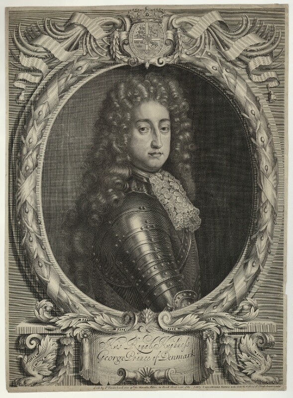 Prince George of Denmark, Duke of Cumberland, by and published by Peter Vanderbank (Vandrebanc), and published by  Christopher Browne, after  Unknown artist, circa 1683-1697 - NPG D32800 - © National Portrait Gallery, London