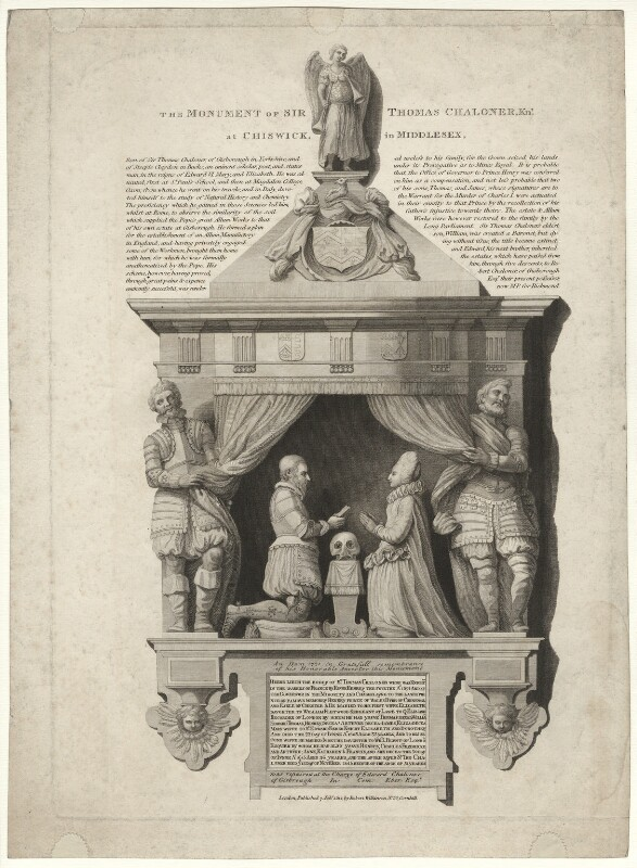 Monument of Sir Thomas Chaloner the Younger at Chiswick in Middlesex, published by Robert Wilkinson, published 1812 - NPG D32818 - © National Portrait Gallery, London