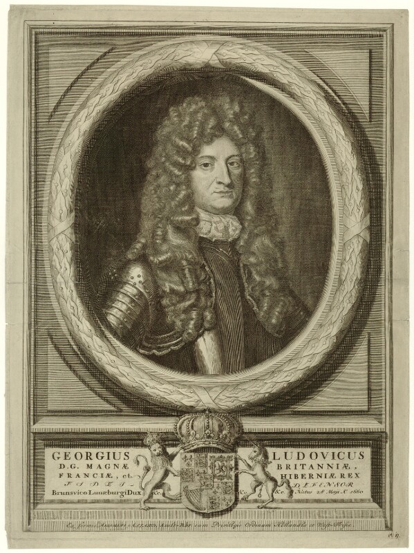 King George I, printed and published by Abraham Allard, after  Unknown artist, published circa 1714-1727 (circa 1695-1705) - NPG D32844 - © National Portrait Gallery, London
