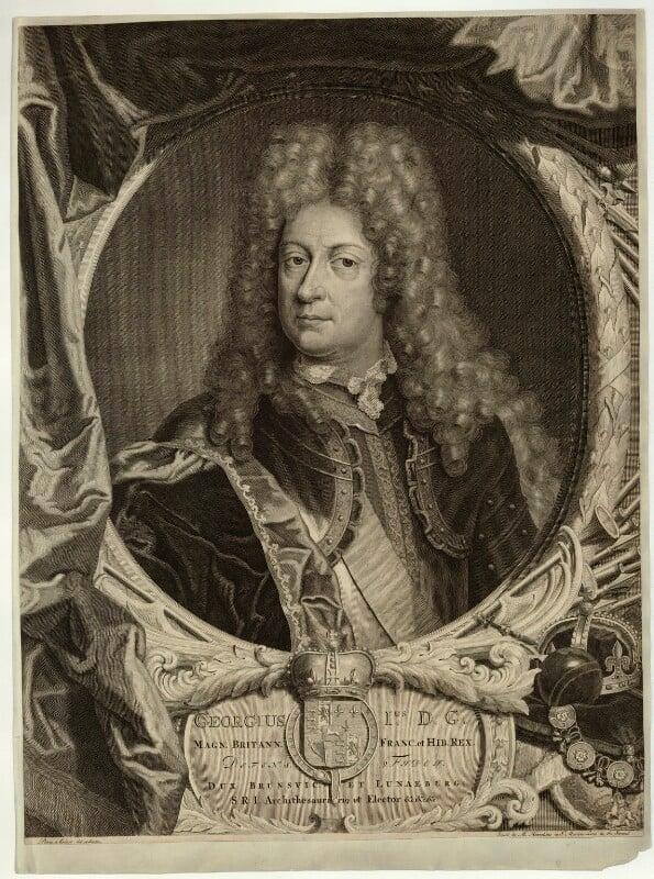 King George I, by Pieter Stevens van Gunst, published by  M. Hennekins, circa 1714-1727 - NPG D32845 - © National Portrait Gallery, London