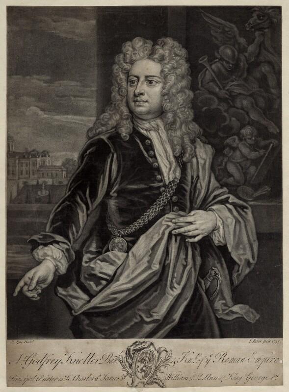 Sir Godfrey Kneller, Bt, by John Faber Jr, after  Sir Godfrey Kneller, Bt, 1735 (circa 1706-1711) - NPG D30409 - © National Portrait Gallery, London