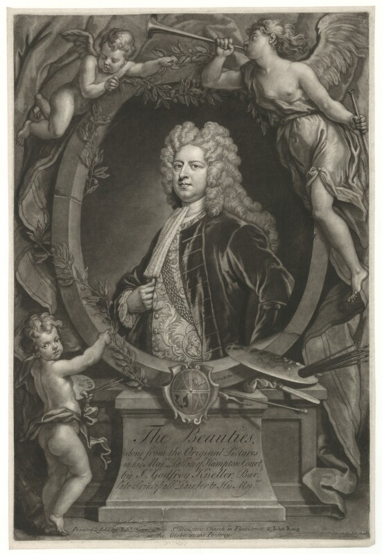 Sir Godfrey Kneller, Bt, by John Faber Jr, printed and sold by  Robert Sayer, printed and sold by  John King, after  John Vanderbank, after  Sir Godfrey Kneller, Bt, circa 1719-1725 - NPG D30410 - © National Portrait Gallery, London
