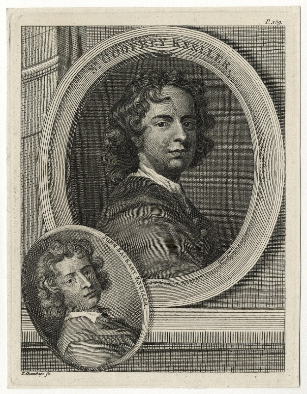Sir Godfrey Kneller, Bt and John Zacharias Kneller, by Thomas Chambers (Chambars), after  Sir Godfrey Kneller, Bt, published 1762 - NPG D30411 - © National Portrait Gallery, London