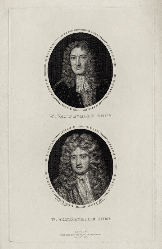 William van de Velde the Elder and William van de Velde the Younger, by William Bond, after  Sir Godfrey Kneller, Bt, published 1827 - NPG D30425 - © National Portrait Gallery, London