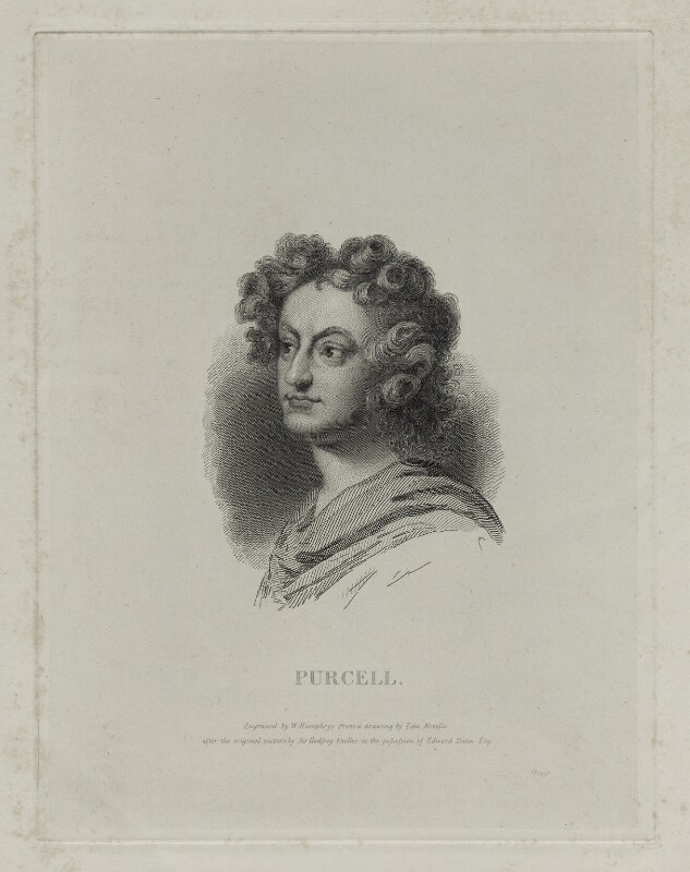 Henry Purcell, by William Humphrys, after  Sir Godfrey Kneller, Bt, mid 19th century - NPG D30449 - © National Portrait Gallery, London