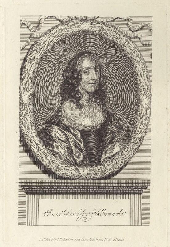 Anne Monck (née Clarges), Duchess of Albemarle, after Unknown artist, published by  William Richardson, published 1800 - NPG D30489 - © National Portrait Gallery, London