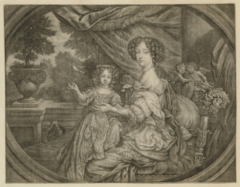 Barbara Palmer (née Villiers), Duchess of Cleveland and Lady Barbara Fitzroy, attributed to Henri Gascar, 1670s - NPG D30499 - © National Portrait Gallery, London