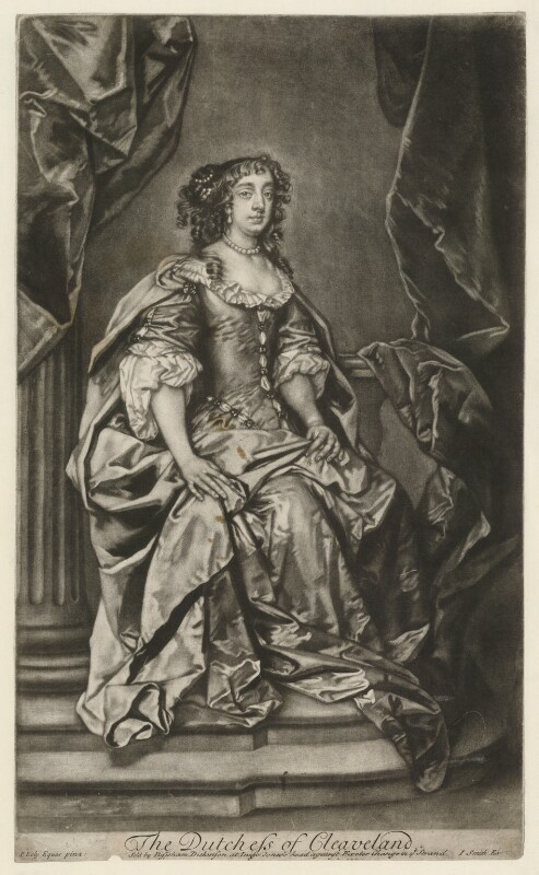 Barbara Palmer (née Villiers), Duchess of Cleveland, by Robert Williams, sold by  Bispham Dickinson, published by  John Smith, after  Sir Peter Lely, 1730s - NPG D30501 - © National Portrait Gallery, London