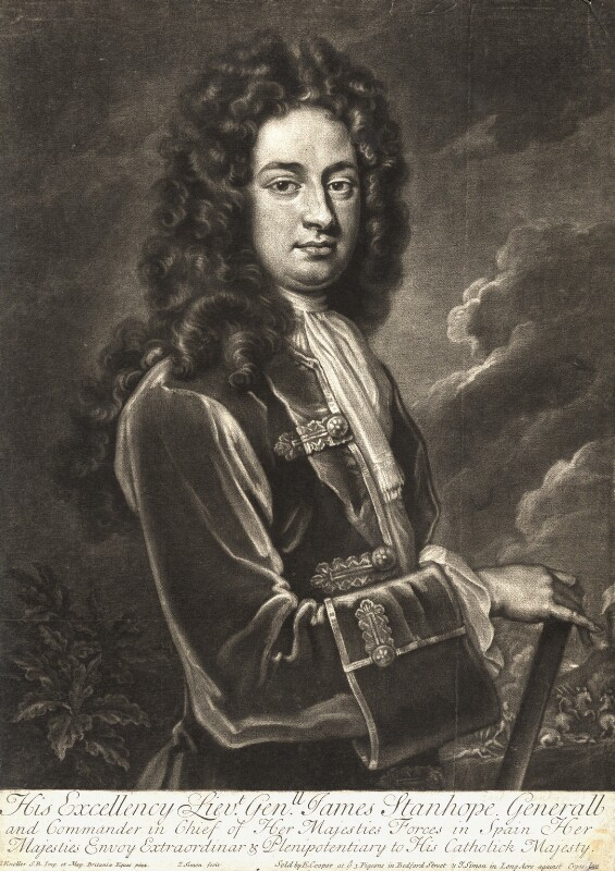 James Stanhope, 1st Earl Stanhope, by and sold by John Simon, sold by  Edward Cooper, after  Sir Godfrey Kneller, Bt, circa 1710-1714 (circa 1705-1710) - NPG D9195 - © National Portrait Gallery, London