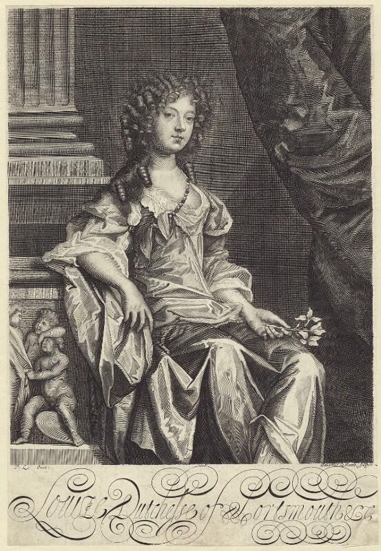 Louise de Kéroualle, Duchess of Portsmouth, by Edward Davis (Le Davis), after  Sir Peter Lely, circa 1678 - NPG D30506 - © National Portrait Gallery, London