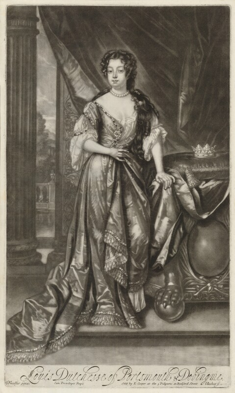 Louise de Kéroualle, Duchess of Portsmouth, by Isaac Beckett, after  Sir Godfrey Kneller, Bt, published by  Edward Cooper, circa 1681-1688 - NPG D30507 - © National Portrait Gallery, London