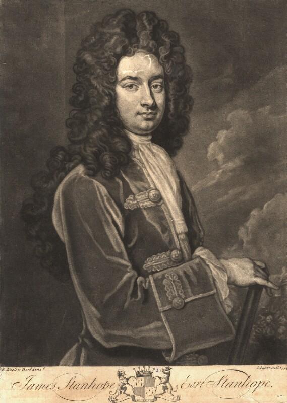 James Stanhope, 1st Earl Stanhope, by John Faber Jr, after  Sir Godfrey Kneller, Bt, 1734 (circa 1705-1710) - NPG D9196 - © National Portrait Gallery, London