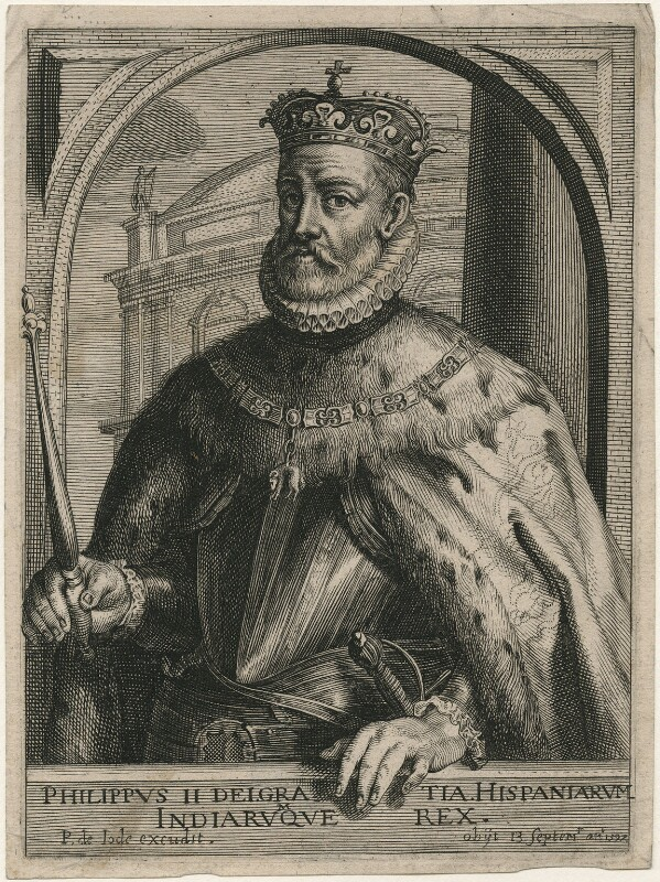 Philip II, King of Spain, published by Pieter de Jode I, after  Unknown artist, early 17th century - NPG D32885 - © National Portrait Gallery, London