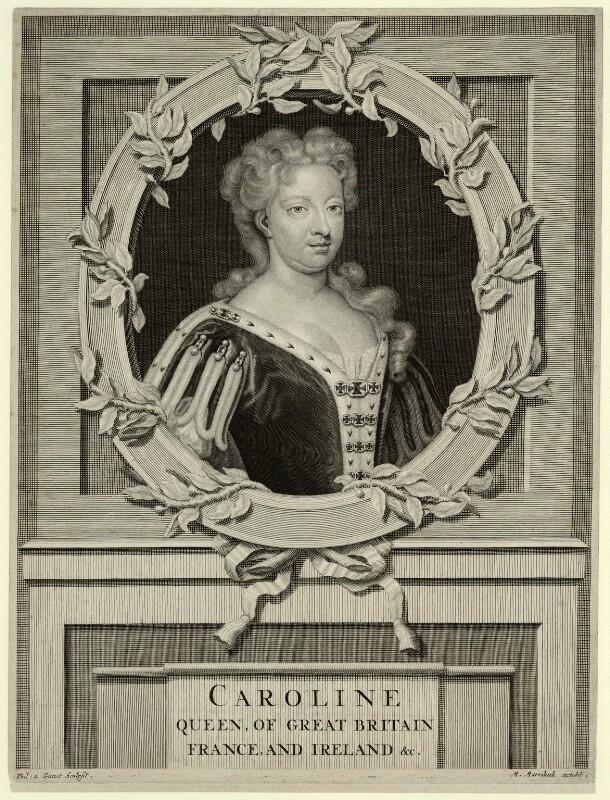 Caroline Wilhelmina of Brandenburg-Ansbach, by M. Marrebeeck, published by  Sir Godfrey Kneller, Bt, after  Pieter Stevens van Gunst, published circa 1727-1737 (1716) - NPG D32893 - © National Portrait Gallery, London