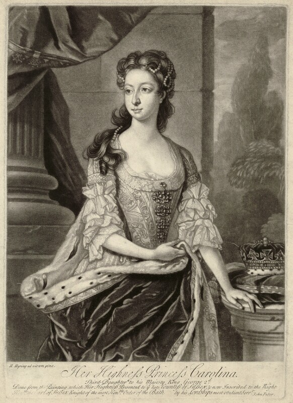 Princess Caroline Elizabeth, by John Faber Jr, after  Hans Hysing, mid 18th century - NPG D32902 - © National Portrait Gallery, London