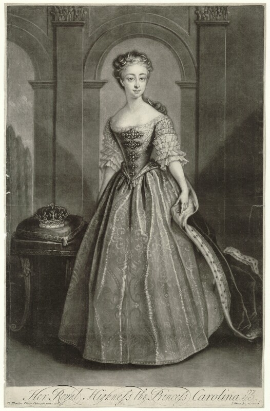 Princess Caroline Elizabeth, by and published by John Simon, after  Philip Mercier, 1728-1764 (1728) - NPG D32903 - © National Portrait Gallery, London