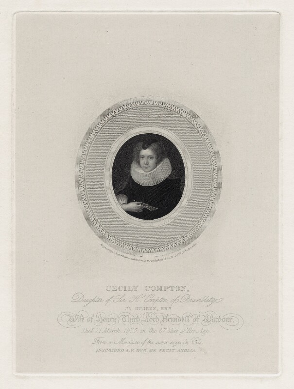 Cicely Arundell (née Compton), Lady Arundell of Wardour, by Robert Cooper, after  Unknown artist, early 19th century - NPG D30552 - © National Portrait Gallery, London