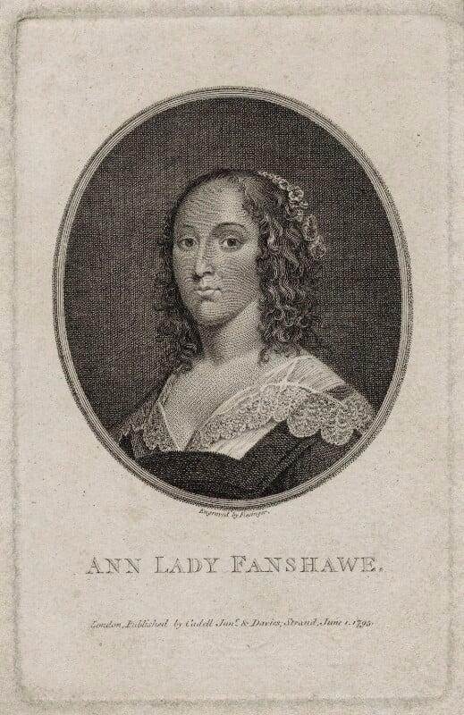 Ann (née Harrison), Lady Fanshawe, by Franz Gabriel Fiesinger, published by  T. Cadell & W. Davies, after  Cornelius Johnson (Cornelius Janssen van Ceulen), published 1 June 1795 - NPG D30568 - © National Portrait Gallery, London