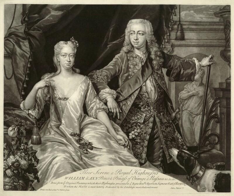 Anne, Princess Royal and Princess of Orange; William Charles Henry Friso, Prince of Orange, by John Faber Jr, after  Philip van Dyk, circa 1734-1740 - NPG D32901 - © National Portrait Gallery, London