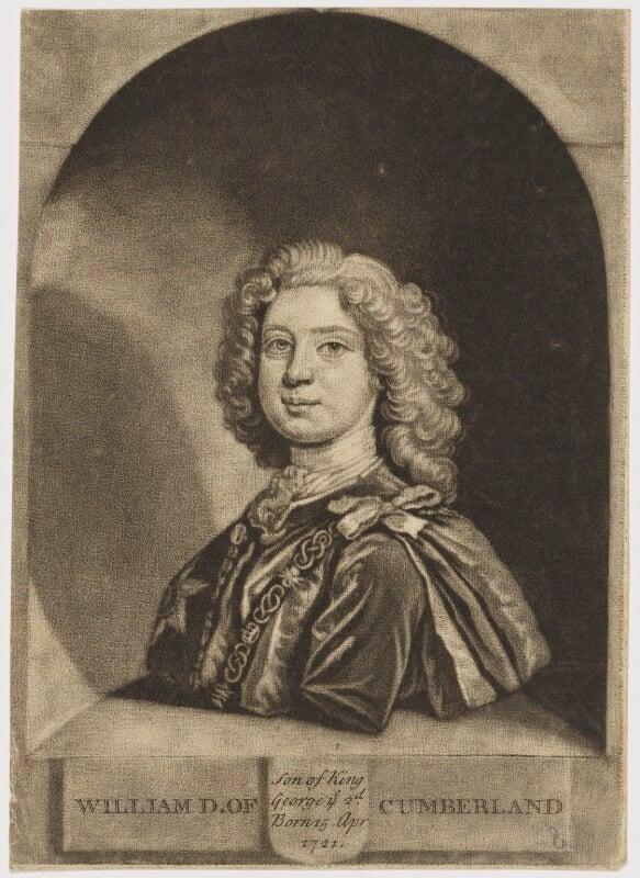 William Augustus, Duke of Cumberland, by John Faber Jr, after  Joseph Highmore, mid 18th century - NPG D9211 - © National Portrait Gallery, London