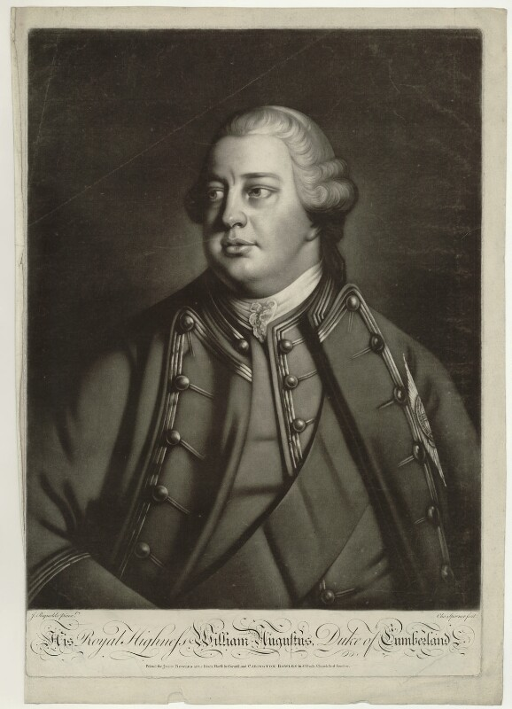 William Augustus, Duke of Cumberland, by Charles Spooner, published by  John Bowles, and published by  Carington Bowles, after  Sir Joshua Reynolds, circa 1758-1761 (1758) - NPG D32907 - © National Portrait Gallery, London