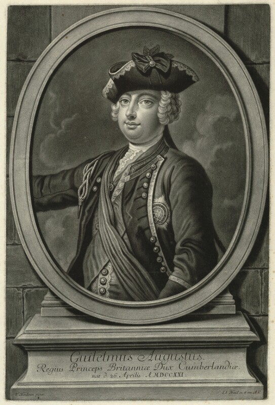 William Augustus, Duke of Cumberland, by and published by Johann Jakob Haid, after  John Faber Jr, after  Thomas Hudson, circa 1744-1765 (1744) - NPG D32908 - © National Portrait Gallery, London