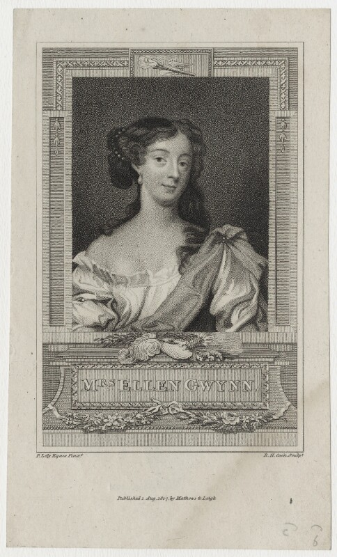 Eleanor ('Nell') Gwyn, by Henry Richard Cook, published by  Mathews & Leigh, after  Sir Peter Lely, published 1 August 1807 - NPG D30621 - © National Portrait Gallery, London